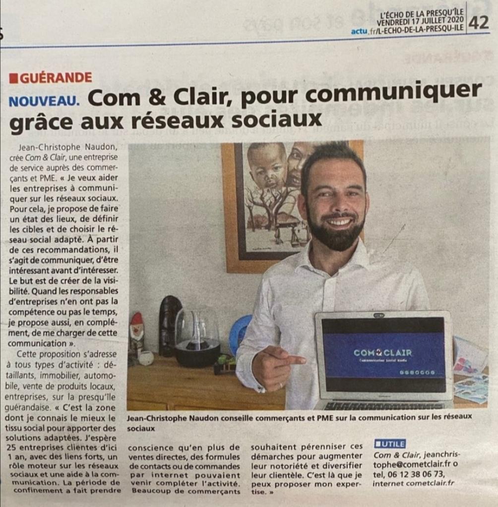 Article, journal ECHO, Jeab-Christophe Naudon, réseaux sociaux, community manager