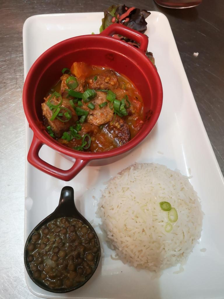 produits frais, rougail saucisses, lentilles, riz, cuisine, restaurant La Pause, cuisine du monde, chef, Villejuif
