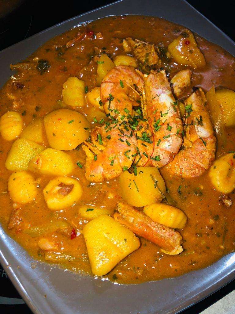 dombrés, gnocchi, crevettes, plat, antillais, fruits de mer, prestigecaraïbescook, cuisine, traiteur